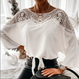 Long sleeves white blouse, lace accent